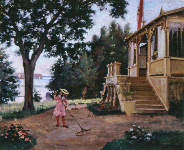 Albert Edelfelt, Från trädgården på Haiko, 1880, oljemålning. Privat ägo. Foto: Katja Hagelstam.