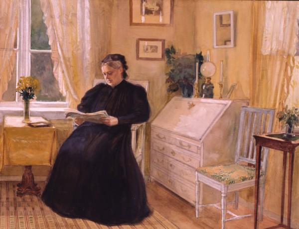 Albert Edelfelt, Fru Alexandra Edelfelt i gula salongen på Haiko, 1902, akvarell. Borgå museum. Foto; Jan Lindroth