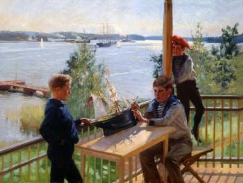 Albert Edelfelt, Eklöfin pojat Villa Sjökullan kuistilla, 1890, öljy kankaalle. Kuva: Douglas Sivén.