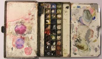 Låda med akvarellfärger som tillhört Albert Edelfelt. Borgå museum